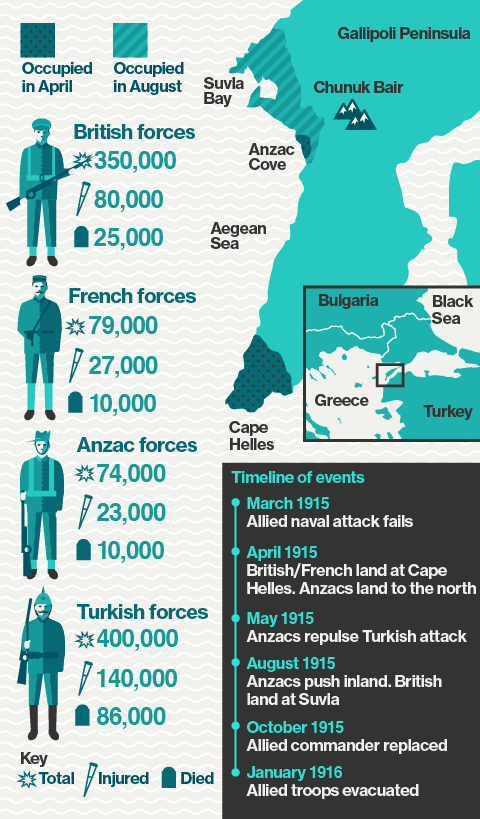 Infographic showing the location, events and impact on combatants of the Allied assault on the Gallipoli Peninsula in World War One.