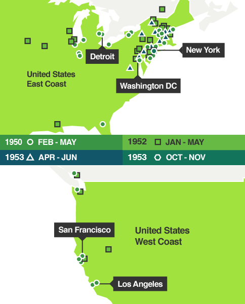 Infographic showing stops on Dylan Thomas's US tours