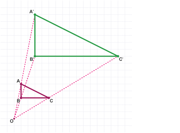 Enlargement of triangle (ABC) to create triangle (A'B'C')