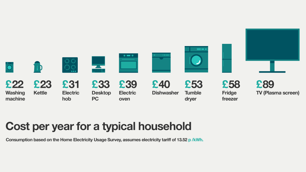 Infographic Showing Which Appliances Use Most Power
