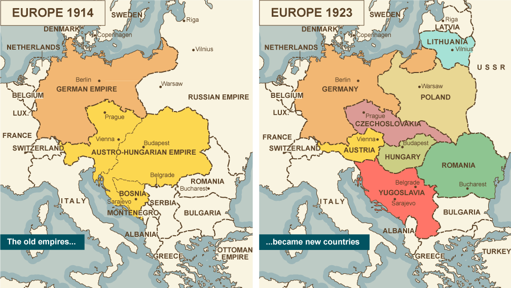 Bbc iwonder does the peace that ended ww1 haunt us today map comparing europe 1914 with europe 1923 showing old empires becoming new countries gumiabroncs Image collections