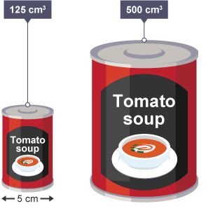 125cm^3 and 500cm^3 soup cans