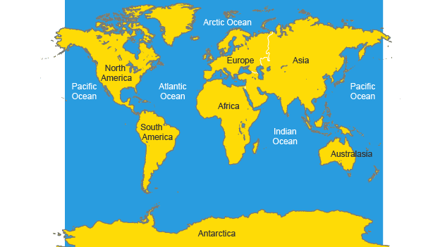 BBC Bitesize KS Geography Atlas Skills Revision - Map showing continents and oceans
