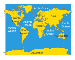 Bbc bitesize ks3 geography atlas skills revision 2 map of the world continents and oceans gumiabroncs Gallery