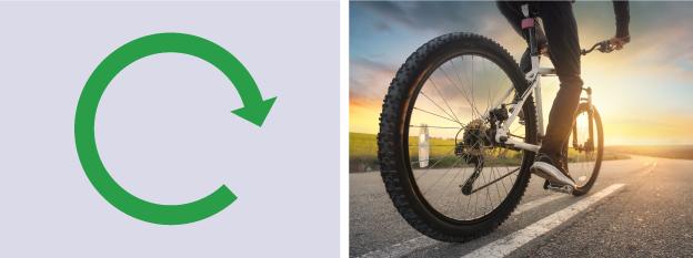 A circular arrow demonstrating rotary motion sat alongside a photograph of wheels on a bike.