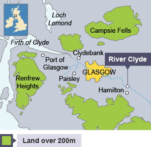 Map of Glasgow and surrounding areas