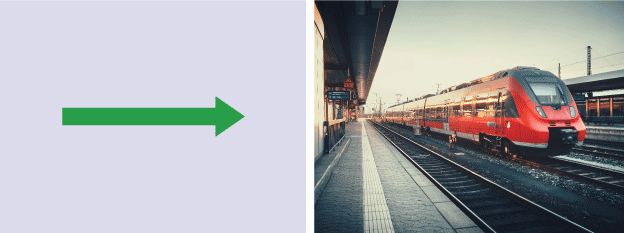 A straight arrow to demonstrate linear motion sat alongside a photograph of a train.