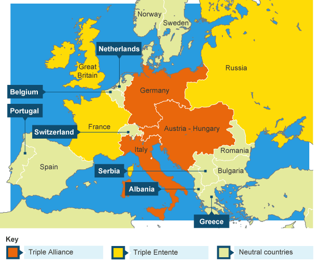 Bbc bitesize ks3 history the first world war revision 3 map showing the german schlieffen plan sciox Choice Image