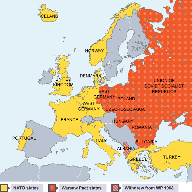 ... Map Of Europe Showing The Countries In The Warsaw Pact And In Nato