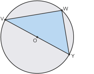 Triangle (VWY) within circle, passing through centre, O
