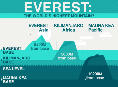 Everest is the world's highest mountain from sea level. However, several others including Kilimanjaro and Mauna Kea are higher if measured in different ways