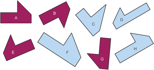Various 6 sided shapes, labelled A - H. 3 shapes are congruent