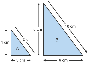 Original triangle and triangle enlarged by a scale factor of 2