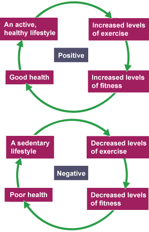 A positive and negative circle charting the negative and positive effects of excersize