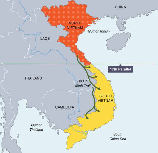 Bbc bitesize national 5 history the vietnam war revision 2 map showing the 17th parallel separating north and south vietnam sciox Image collections