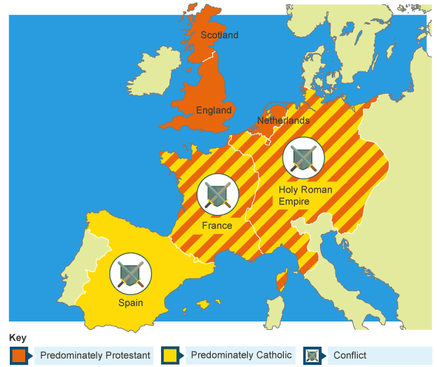 Bbc bitesize ks3 history the reformation revision 2 map of europe showing areas of protestant and catholic conflict gumiabroncs Image collections